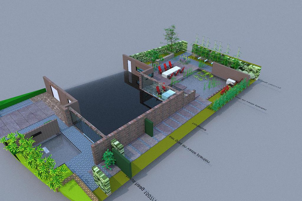 Bomen rooien moderne strakke design tuin bij villa in goirle for Tuin 3d ontwerpen